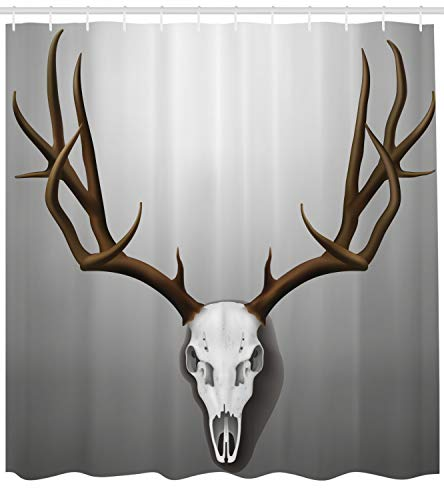 Ambesonne Antler Decor Shower Curtain by, Realistic Deer Skull with Large Horns Elk Skeleton on Abstract Backdrop, Fabric Bathroom Decor Set with Hooks, 84 Inches Extra Long, Brown White Grey
