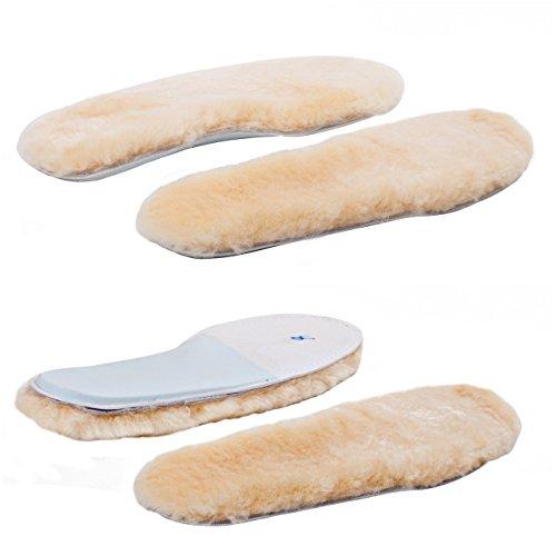 - ABUSA Sheepskin Insoles Women's Premium Think Wool Fur Fleece Inserts Cozy & Fluffy 8X2