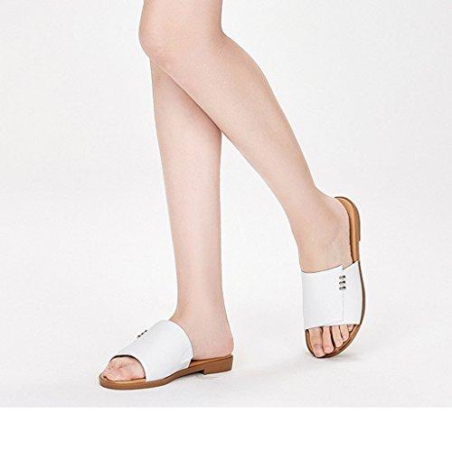 vêtements d'été us4 uk3 2018 TIANYINI femmes taille jaune rond mode XIE pantoufles de 7 confortable nouvelles Blanc PU US 34 plat pantoufles blanc 5 38 plat Couleur Blanc 5 5 UK rond 9 40 7 5 x0xIqwH