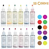 Tie Dye DIY Kit,12 Colors Shirt Fabric Tie Dye Kit for Kids,Adults Non-Toxic Vibrant Tie Dye Supplies with Rubber Bands,Gloves for DIY Arts and Crafts (Color: 12 Colors)
