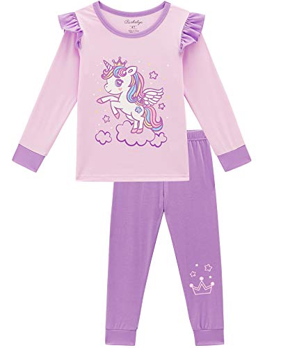 Glow In The Dark Girls Pajamas (Girls Pajamas, Glow-in-The-Dark Unicorn Pjs for Kids (Purple Unicorn,)