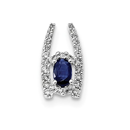 - 14k White Gold Diamond And Sapphire Polished Chain Slide Pendant from Roy Rose Jewelry