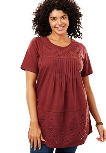 Women's Plus Size Embroidered Eyelet Knit Pintucked Tunic Antique - Eyelet Antique