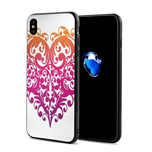 Phone Case Cover Compatible with iPhone X XS,Vibrant Abstract Heart with Ornament Pattern Swirls Curls Scroll Style,Compatible with iPhone X/XS 5.8 ()