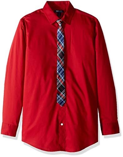 Tommy Hilfiger Big Boys Long Sleeve Dress Shirt with Tie