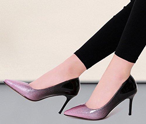 Idifu Vrouwen Ol Slip Op Pumps Gesloten Puntschoen Lage Top Hoge Naaldhakken Kantoorschoenen Roze
