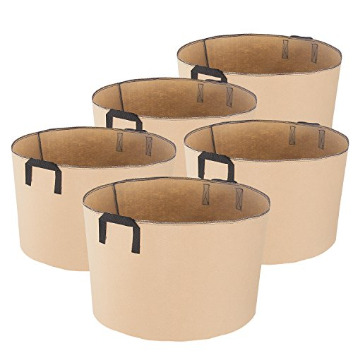 iPower 15-Gallon 5-Pack Grow Bags Fabric Aeration Pots Container with Strap Handles for Nursery Garden and Planting(Tan)