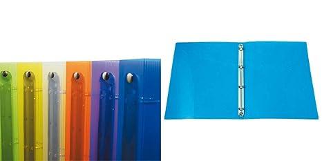 Archivador 4 anillas plástico multicolor transparente A5 Diam.30