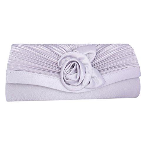 Adoptfade Womens Pleated Flower Evening Clutch Satin Vintage Dinner Bag,Silver ()