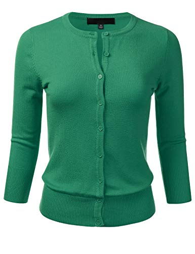 Women's Button Down 3/4 Sleeve Crew Neck Knit Cardigan Sweater KellyGreen 1X