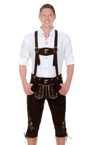 Bavarian Traditional Leather Trousers Lederhosen with Suspenders Darkbrown with Deer Embroidery (50 (34 inch))