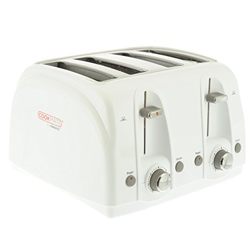 Cookmate 4-Slice Toaster, Dual 7 Temperature Levels, Sleek Unibody Frame - Quick Bagel Button - 1500W ETL-Listed, By Unity