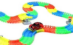 192 Piece Bendable, Magic Race Cars Track Set with 2 Battery Operated Cars with Flashing Headlights & Glow in the Dark Track Pieces