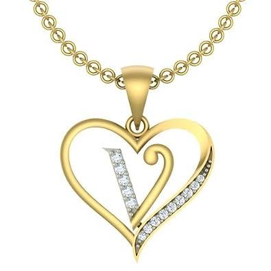 Buy kanak jewels initial letter v in heart shaped with chain kanak jewels initial letter quotvquot in heart shaped with chain gold plated cubic stopboris Images