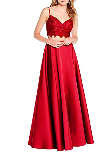 Beauty Bridal Girls'Sleeveless Lace Quinceanera Dresses Formal Prom Dresses Ball Gown Two Piece S068 (2,Red)