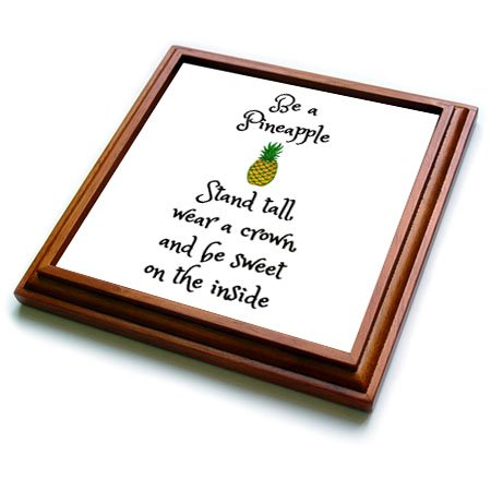 3dRose trv_253912_1 Stand Tall Wear a Crown and Be Sweet, Pineapple Picture Trivet with Tile, 8 by 8'' by 3dRose (Image #1)