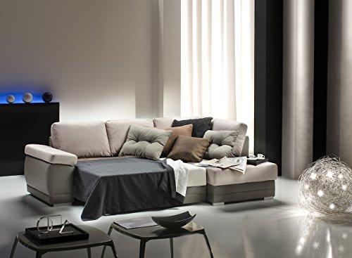 Divano letto angolare mod venezia con chaise longue dx bicolor ecopelle tortora econabuk beige - Divano letto angolare ecopelle ...