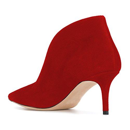 Fsj Donne Slip On Stivaletti Alla Caviglia Faux Suede Punta A Punta Tacco Medio Pompe Eleganti Stivali Taglia 4-15 Us Red