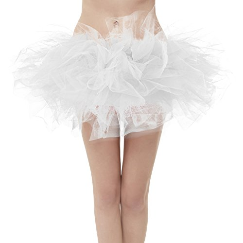 Girstunm Women's Classic 6 Layers Fluffy Costume Tulle Bubble Skirt White-Plus Size