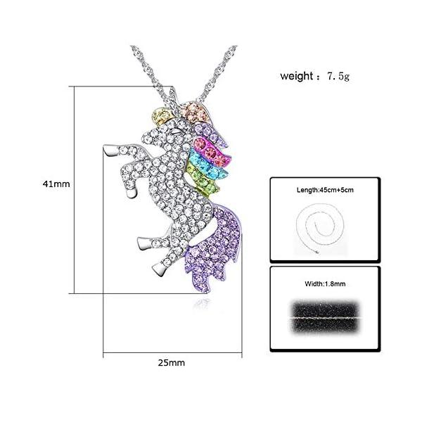 4MEMORYS Rainbow Unicorn Jewelry Set Including Pendant Necklace, Bracelet Rhinestone Crystal Rhodium Plated Women Girls… 8