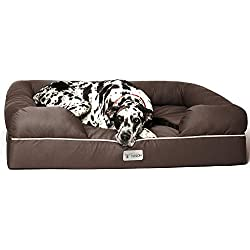"""PetFusion Jumbo Dog Bed w/Solid 6"""" Memory Foam, Waterproof Liner, YKK Premium Zippers. [Brown, 50x40x13 - Sized for XXL Dogs"""