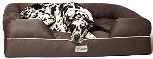 "PetFusion Jumbo Dog Bed w/ Solid 6"" Memory Foam, Waterproof liner, & YKK premium zippers. [Brown, 50x40x13"" - sized for XXL Dogs) from PetFusion"