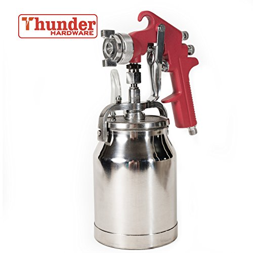 Thunder Hardware 4001J 34 oz Siphon Feed Spray Gun - 1.8mm Nozzle for a variety of low viscosity paints, such as lacquer, enamel, stain, urethane with air flow and paint pattern control knob Paint Picket Fence