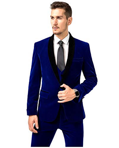 97d1db33f3531 Jingmo Burgundy Royal Blue Black Velvet 3 Piece Suits for Men Classic  Tuxedo Blazer Vest Pants