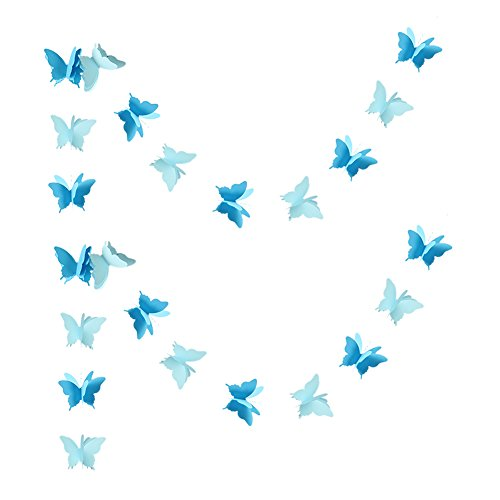 (Zilue Butterfly Banner Decorative Paper Garland Wedding, Baby Shower, Birthday & Theme Decor 110 Inches Long Set of 2 Pieces Blue)