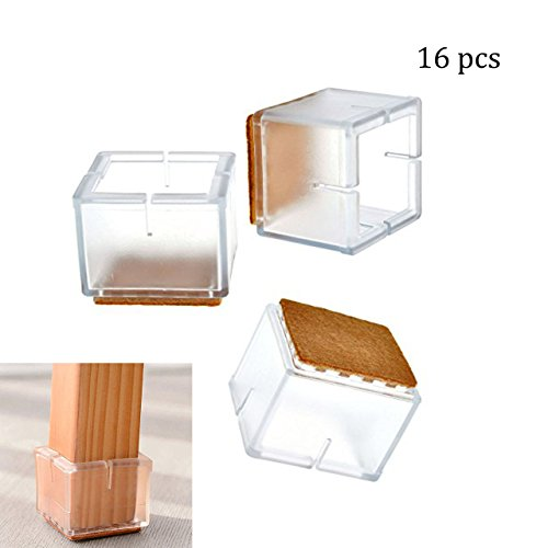 CozyCabin 16 Pcs Square Chair Leg Pads Protection Furniture Floor Protectors Table Leg Covers (16 pcs,Square)