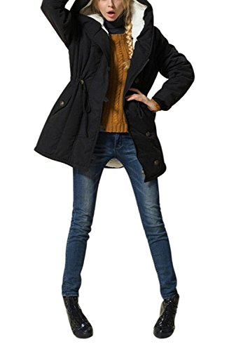 Fleece Winter Parka - Rela Bota Women's Military Winter Wool Coat Hoodie Parkas Overcoat Fleece Jacket Outwear XXXX-Large Black