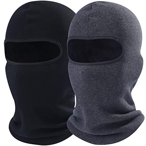 (AXBXCX 2 Pack - Neck Warmer Face Mask Thick Polyester Fleece Thermal Balaclava Windproof Protection for Snowboard Ski Cycling Motorcycle Hunting Driving Cold Weather Winter Activities Black&Gray)