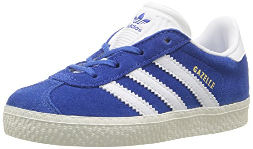 (adidas Originals Boys' Gazelle I Sneaker, Blue/White/Metallic/Gold, 6 M US Toddler)