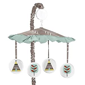 Outdoor Adventure Aqua Blue and Gray Nature Musical Baby Crib Mobile