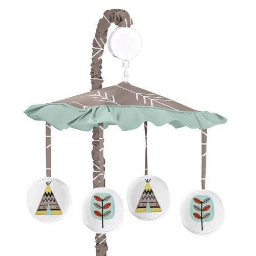 Sweet Jojo Designs Outddor Adventure Aqua Blue and Gray Nature Musical Baby Crib Mobile