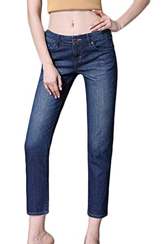 Blu Yacun Pantaloni Donne Scurocolor Caviglia Le Jeans Leggings Slim Stretch Denim TTqwZx4rz