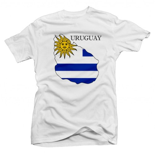 Uruguay Country Flag Printed Shortsleeve Tee (White) Small [P*]