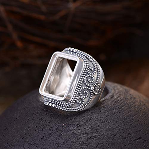 (Men's Ring Blank (15x19mm Rectangle Blank) Adjustable Thai Sterling Silver Ring Base Vintage Style Rectangle Cabochon Ring Setting R728B)