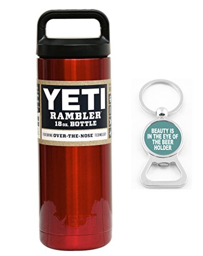 YETI Custom Powder Coated Rambler Stainless Steel Insulated Water Bottle, Red Metallic - 18 oz. by YETI