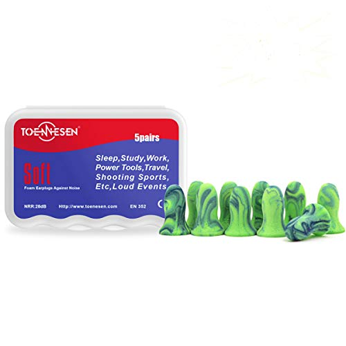 Kids Earplugs Toennesen Noise Cancelling Earplugs for Women/Small Ear Canal for Sleeping/Work/Study/Travel/Sound Blocking(Green/Blue) 5 Pairs