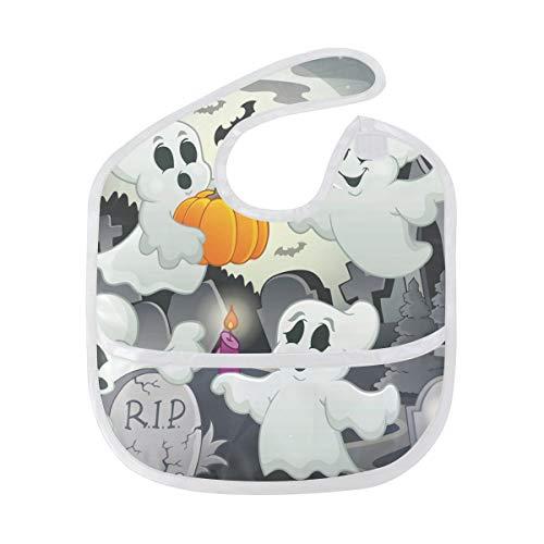 Halloween Ghost Baby Bibs Kids Bandana Drool Bib Waterproof Washable Feeding Superbib for Boys Girls(2pcs)