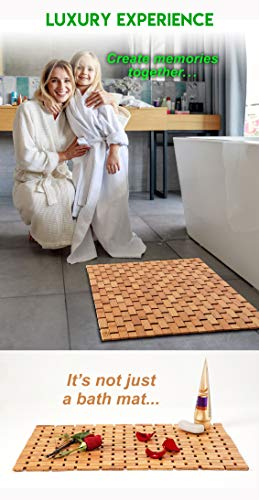 Natural Bamboo Wood Bath Mat: Wooden Door Mat/Kitchen Floor Rug - Bathroom Shower and Tub Mats - ENHANCED FLOOR-GRIPPING RUBBER PAD - Using an upgraded silicone rubber different from other brands, a real gripping pads to protect your flooring and provide you with a more stable footing MULTIPURPOSE USE, INDOOR / OUTDOOR - Place inside bathrooms or as an outdoor shower mat for a spa like feel or to make kitchens / laundry rooms more modern NATURAL BAMBOO WOOD - Lighter than teak wood and stronger than plastic or rubber, our solid bamboo wood mats have a longer lifespan, would not stain, sag or bend - bathroom-linens, bathroom, bath-mats - 41MRyiWZ8TL -