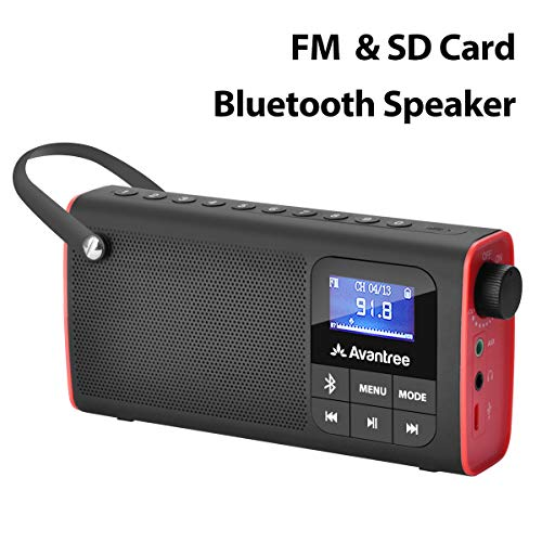 Avantree Portable FM Radio with Bluetooth Speaker and SD Card Player 3-In-1