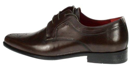 Red Tape Langdon Chaussures richelieu en cuir véritable Bout carré Homme - Marron - Marron foncé, 45 (11 UK)