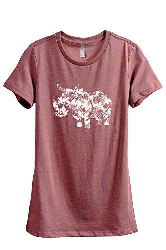 Thread Tank Floral Rhino Women's Fashion Relaxed T-Shirt Tee Heather Rouge ()