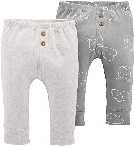 Carter's Unisex Baby Pull-On Pants (Heather/Grey Elephants, 3 Months)