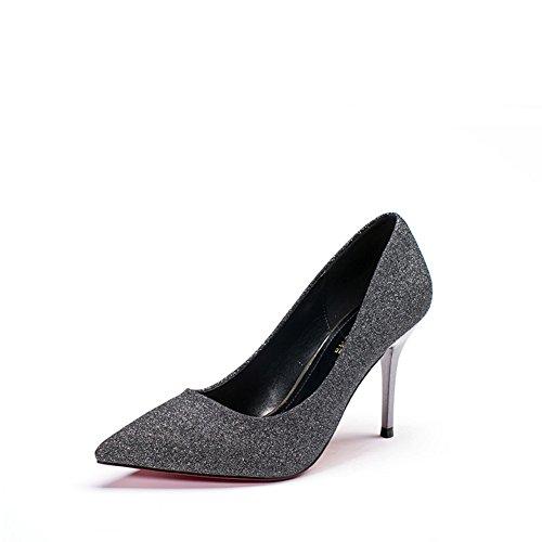PUMPS Schuhe Womens Schuhe,Hochzeit Schuhe Heels,Feines und Helles Stück der Eleganten Koreanischen Version der Flachen Mund Schuhe-A Fußlänge=22.8CM(9Inch)