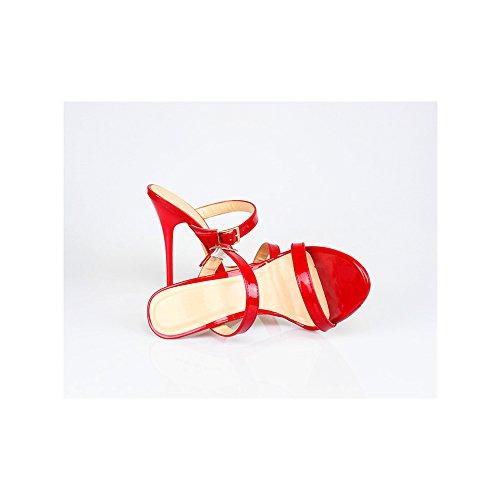 Sandalias Tacones Altos Grande Mujer Rojo 13cm Ochenta Talla BZx7fxw