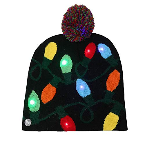 9a98834fdadef9 LED Light Up Christmas Hat Novelty Knitting Beanie Cap Winter Party  Chirstmas