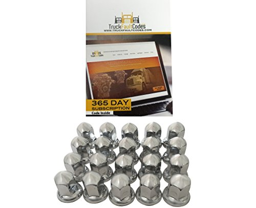 Diesel Laptops 20 Pack of 33mm x 2-3/8 Chrome Steel Cone Push on Nut Cover for Commercial Heavy Semi Trucks with 12-month Membership to ()